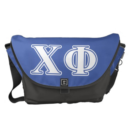 Chi Phi White and Blue Letters Messenger Bags