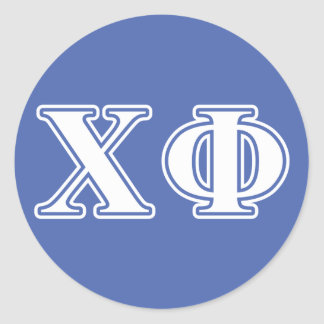 Chi Phi White and Blue Letters Round Sticker
