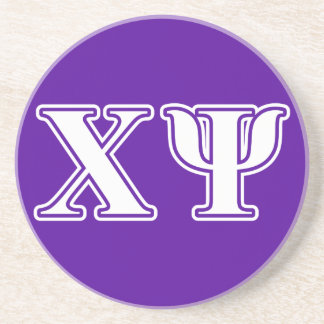 Chi Psi White and Purple Letters Drink Coasters