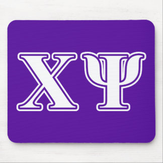 Chi Psi White and Purple Letters Mouse Pad