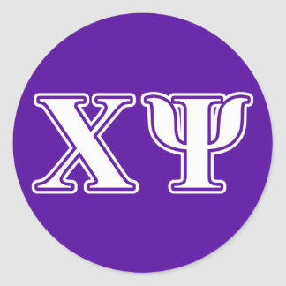 Chi Psi White and Purple Letters Round Sticker