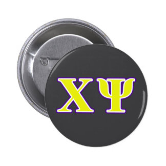 Chi Psi Yellow and Purple Letters 6 Cm Round Badge