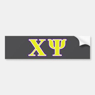 Chi Psi Yellow and Purple Letters Bumper Sticker