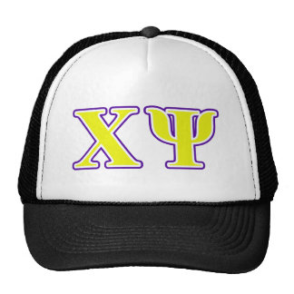Chi Psi Yellow and Purple Letters Cap