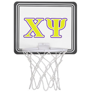 Chi Psi Yellow and Purple Letters Mini Basketball Hoop