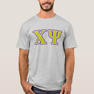 Chi Psi Yellow and Purple Letters T-Shirt
