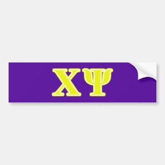 Chi Psi Yellow Letters Bumper Sticker