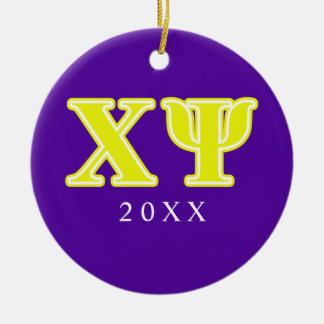 Chi Psi Yellow Letters Christmas Ornament