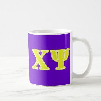 Chi Psi Yellow Letters Coffee Mug