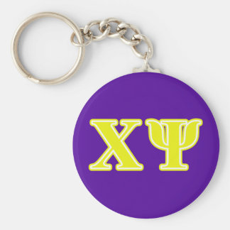 Chi Psi Yellow Letters Key Ring