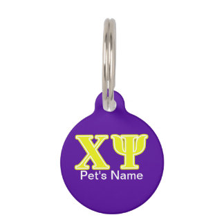 Chi Psi Yellow Letters Pet Tag