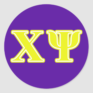 Chi Psi Yellow Letters Round Sticker
