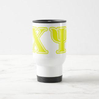 Chi Psi Yellow Letters Travel Mug
