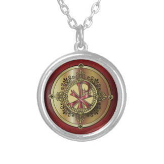 Chi-Rho Monogram ~ Christian Symbol P & X Round Pendant Necklace