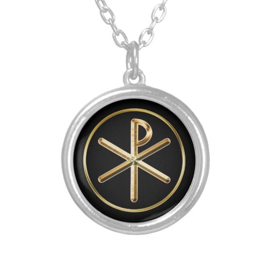 Chi-rho Silver Plated Necklace