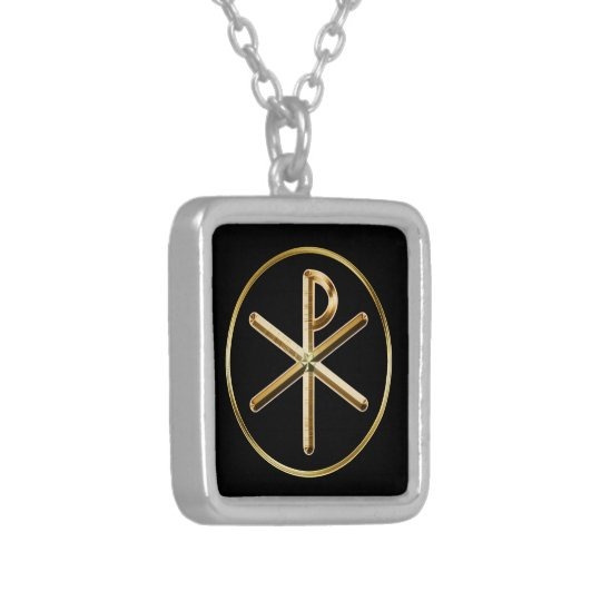Chi-rho symbol silver plated necklace