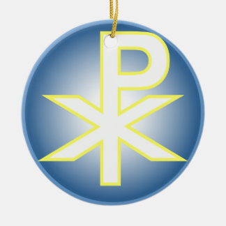 Chi Ro Christian Double-Sided Ceramic Round Christmas Ornament