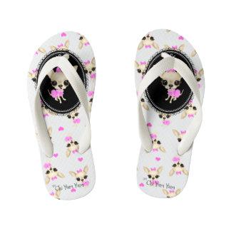 Chi Yum Yum Kids Flip Flops - Lg logo- wht