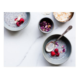 Chia pudding breakfast rose postcard