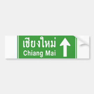 Chiang Mai Ahead ⚠ Thai Highway Traffic Sign ⚠ Bumper Sticker