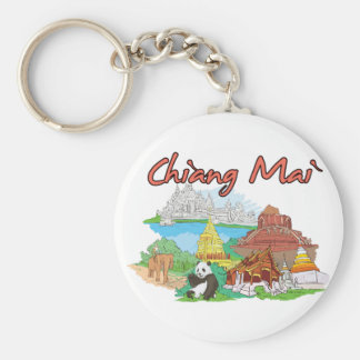Chiang Mai, Thailand Famous City Basic Round Button Key Ring