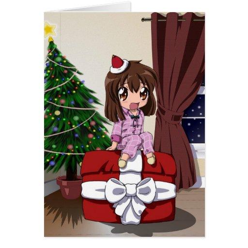 Chibi Anime Christmas - blank Cards
