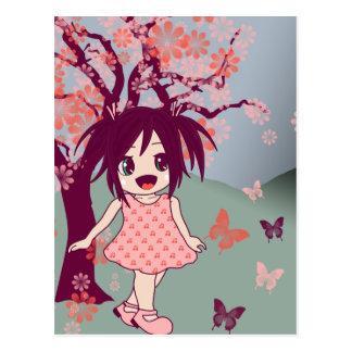 Chibi Anime Manga Cute Japanese Girl Postcard