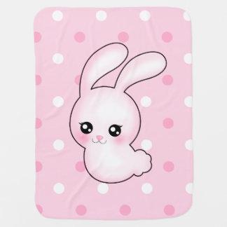 Chibi Anime Pink Easter Bunny Rabbit Baby Blanket