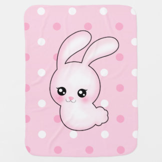 Chibi Anime Pink Easter Bunny Rabbit Receiving Blankets
