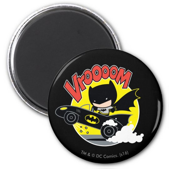 Chibi Batman In The Batmobile Magnet