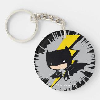 Chibi Batman Lightning Kick Double-Sided Round Acrylic Key Ring