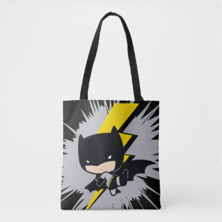 Chibi Batman Lightning Kick Tote Bag