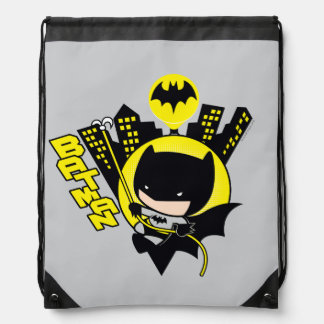 Chibi Batman Scaling The City Drawstring Bag