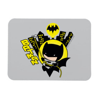 Chibi Batman Scaling The City Rectangular Photo Magnet