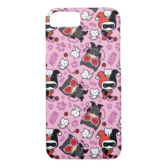 Chibi Catwoman, Harley Quinn, & Kittens Pattern iPhone