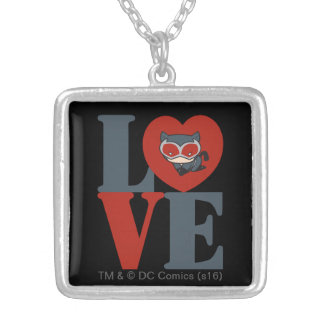 Chibi Catwoman LOVE Silver Plated Necklace