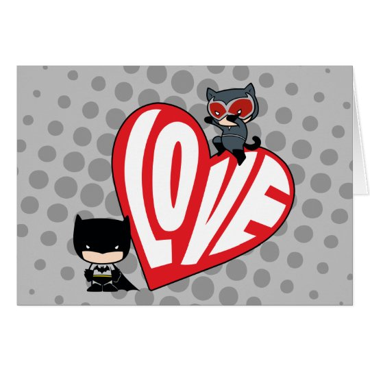Chibi Catwoman Pounce on Batman Card