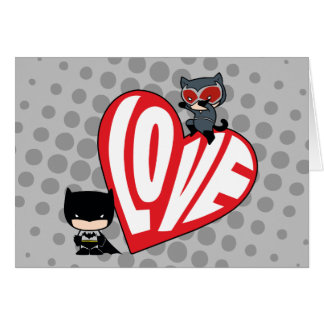 Chibi Catwoman Pounce on Batman Greeting Card