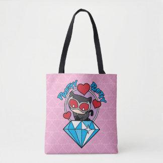Chibi Catwoman Sitting Atop Large Diamond Tote Bag