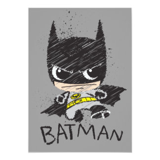 Chibi Classic Batman Sketch 13 Cm X 18 Cm Invitation Card