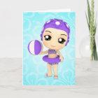 Chibi Cutie Pie Summer Happy Birthday Card