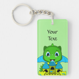 Chibi Dragon With A Blue And Yellow Castle Double-Sided Rectangular Acrylic Keychain