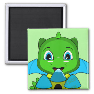 Chibi Dragon With A Blue And Yellow Castle Magnets