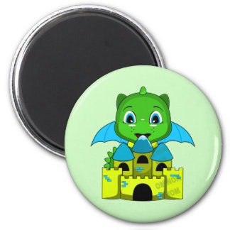 Chibi Dragon With A Blue And Yellow Castle Refrigerator Magnet