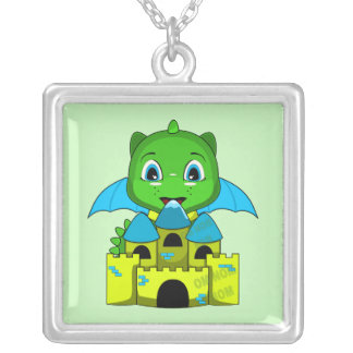 Chibi Dragon With A Blue And Yellow Castle Jewelry