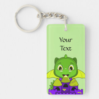 Chibi Dragon With A Yellow And Purple Castle Double-Sided Rectangular Acrylic Key Ring