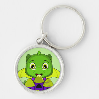 Chibi Dragon With A Yellow And Purple Castle Keychain