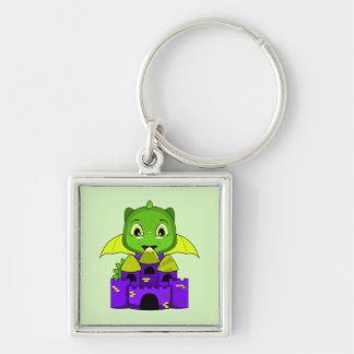 Chibi Dragon With A Yellow And Purple Castle Key Chains