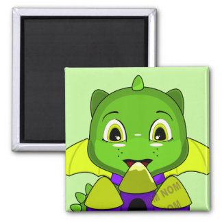 Chibi Dragon With A Yellow And Purple Castle Refrigerator Magnet