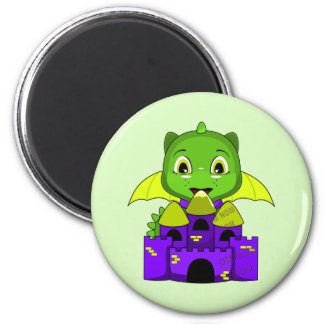 Chibi Dragon With A Yellow And Purple Castle Magnets